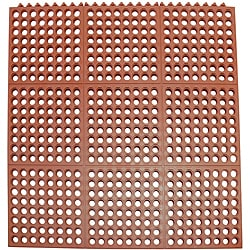 Rubber-Cal Dura-Chef Interlocking Anti-Fatigue 0.625-inch Thick 3 x 3 Red Anti Slip Mat