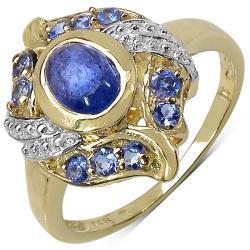 Malaika Yellow Gold Over Sterling Silver Tanzanite Ring