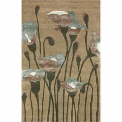 nuLOOM Handmade Floral Natural Faux Silk/ Wool Rug (5' x 8')