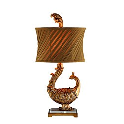 Peacock 1-Light Lamp w/Slant Pleats Shade 9551780