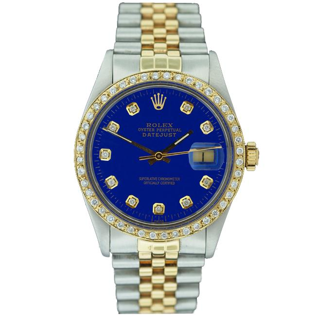 Pre-owned Rolex Men's Datejust Two-tone Blue Dial Diamond Watch