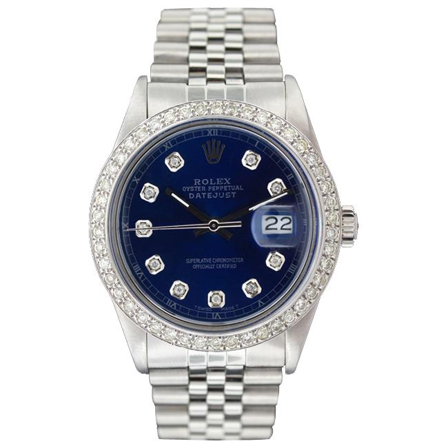 Pre-owned Rolex Men's Datejust White Gold Blue Diamond Dial Watch