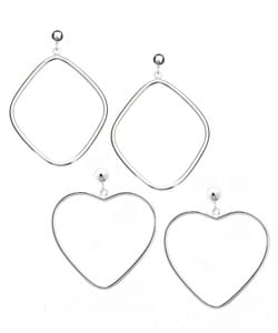 Mondevio Sterling Silver Geometric Hoop Earring Set