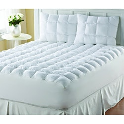 Supreme Loft Cloud Down-alternative White Cotton Mattress Pad (As Is Item)