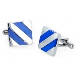 West Coast Jewelry Stainless Steel Mother of Pearl Inlay Cuff Links
