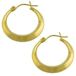14k Yellow Gold Angular Round Hoop Earrings