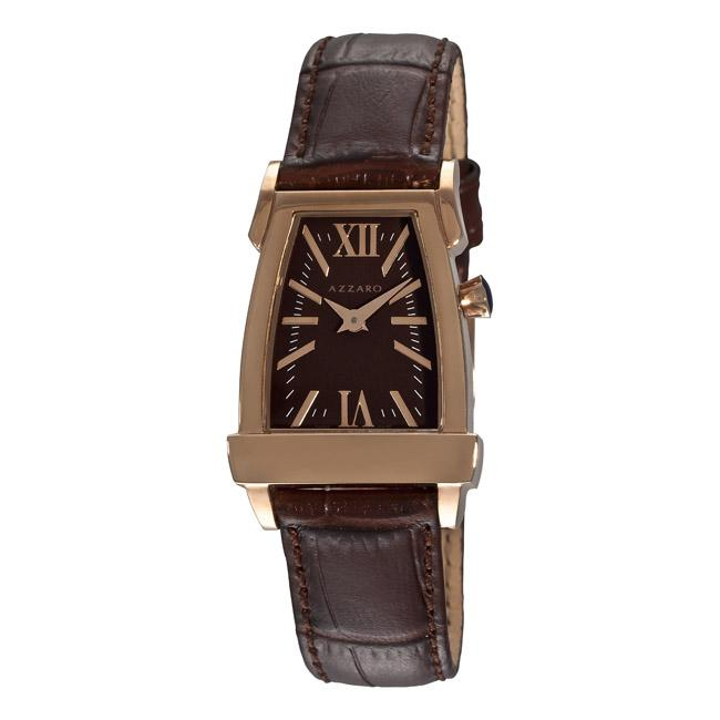 Azzaro Women's 'A BY Azzaro' Rose PVD Brown Strap Watch
