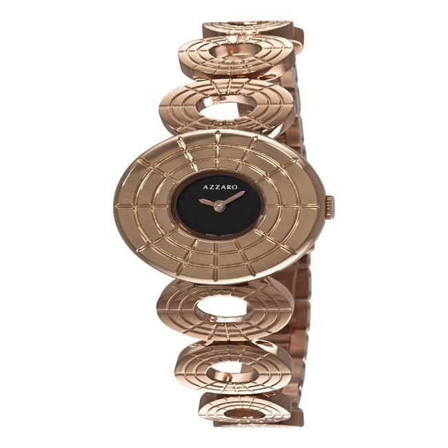 Azzaro Women's 'Sparkling' Rose PVD Black Dial Watch