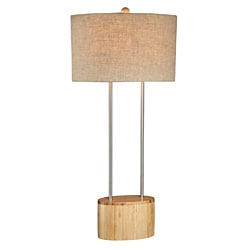 Bamboo Oval with Metal Lamp