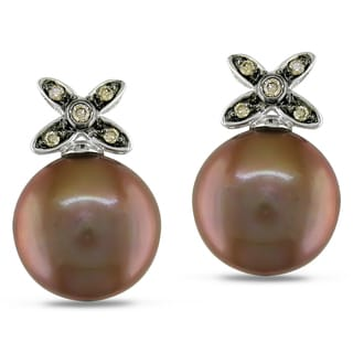 Miadora 14k White Gold Brown Pearl and Brown Diamond Earrings