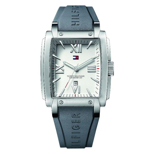 Tommy Hilfiger Men's Silver Dial Grey Rubber Strap Watch