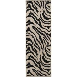 Hand-tufted Black/White Zebra Animal Print Glamorous Wool Rug (2'6 x 12')