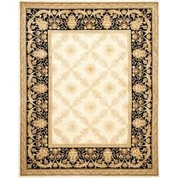 Asian Hand-knotted Zeus Trellis Ivory Wool Rug (6' x 9')
