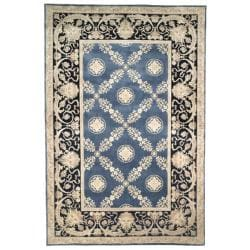 Asian Hand-knotted Zeus Trellis Blue Wool Rug (10' x 14')