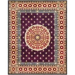 Asian Hand-knotted Fleur-de-lis Royal Purple Wool Rug (8' x 10')