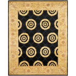 Asian Hand-knotted Medallion Navy/ Ivory Wool Rug (9' x 12')