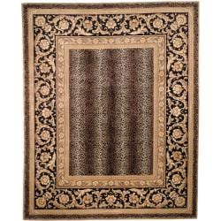 Asian Hand-knotted Leopard Beige/ Black Wool Rug (4' x 6')