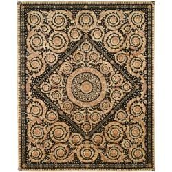 Asian Hand-knotted Royal Crest Beige/ Black Wool Rug (9' x 12')