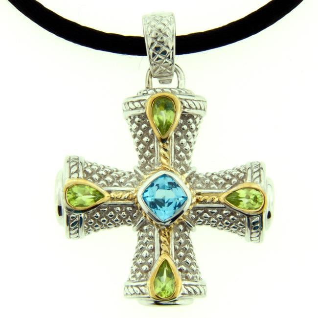 Meredith Leigh Silver Blue Topaz and Peridot Maltese Cross Necklace
