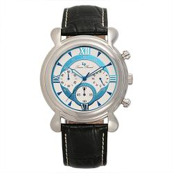 Lucien Piccard Men's Stainless Steel Black Leather Watch