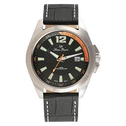 Lucien Piccard Men's Brunswick Stainless Steel Black Leather Watch