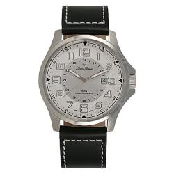 Lucien Piccard Convoy Collection Military Time Silver Dial Leather Strap Mens Watch