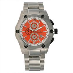 Lucien Piccard ChronoTask Collection Chronograph Orange Dial Stainless Steel Mens Watch