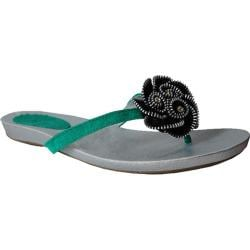 Women's Bruno Menegatti 83-907 Green Thong Sandals