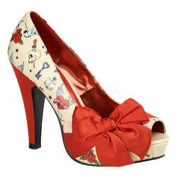 Women's Pin Up Bettie 13 Cream PU Tattoo/Red Satin