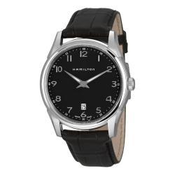 Hamilton Men's 'Jazzmaster' Black Leather Strap Watch