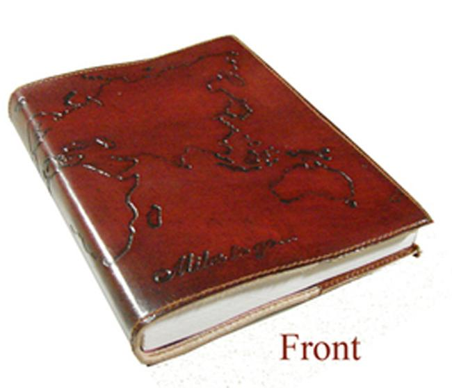 Refillable Tan Leather World Journal 5 x 7 (India)
