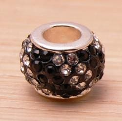 Crystal Rhinestone Black and Clear Charm Bead