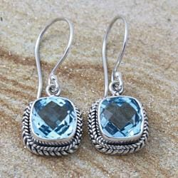 Silver Faceted Square Blue Topaz Bali Drop Earrings (Indonesia)