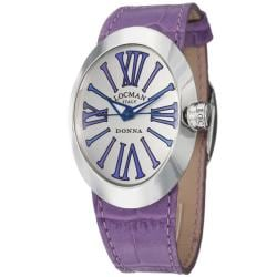 Locman Women's 'Glamour' Stainless Steel and Leather Quartz Watch