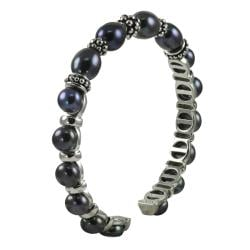 Pearls For You Silver Black Freshwater Pearl Cuff (6.5-7.5 mm) 7939324