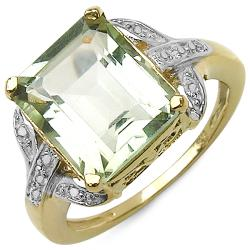 Malaika 14k Gold over Sterling Silver Green Amethyst and White Topaz Ring