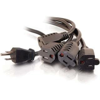 C2G 18in 16 AWG 1-to-4 Power Cord Splitter (1 NEMA 5-15P to 4 NEMA 5-