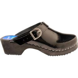 Cape Clogs Solids Adjustable Black Patent Leather