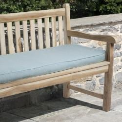 Clara Outdoor Light Blue Bench Cushion Made with Sunbrella