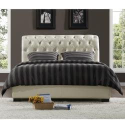Castela Soft White Faux Leather King Bed