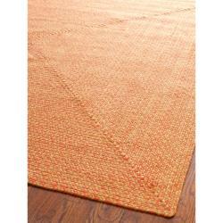 Safavieh Hand-woven Reversible Peach/ Yellow Braided Rug (5' x 8')