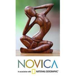 Wood 'How Do I Look' Sculpture (Indonesia)