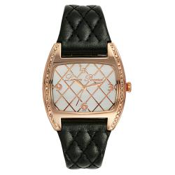 Lucien Piccard Women's 0.35ct Diamond Lattice Stainless Steel Leather Strap Watch