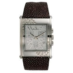 Lucien Piccard Ladies Oversized Diamond Rectangle Watch