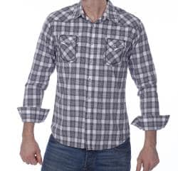 191 Unlimited Men's White/ Multi Plaid Shirt