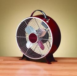 Deco Breeze DBF0597 Merlot 9-in Retro Metal Box Fan