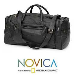 Leather 'Brazil In Black' 21.6 Inch Medium Carry On Travel Bag (Brazil)