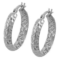 14k White Gold 20-mm Diamond-cut Hoop Earrings