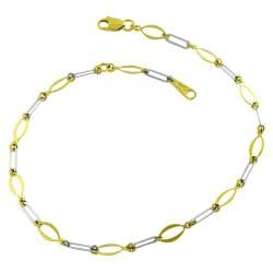 14k Two-tone Gold 10-inch Flat Oval Link Anklet