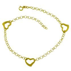 14k Yellow Gold 10-inch Rolo Link Open Heart Stations Anklet
